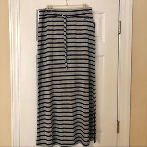 Seven Gray Stripe Maxi Skirt Medium NWT